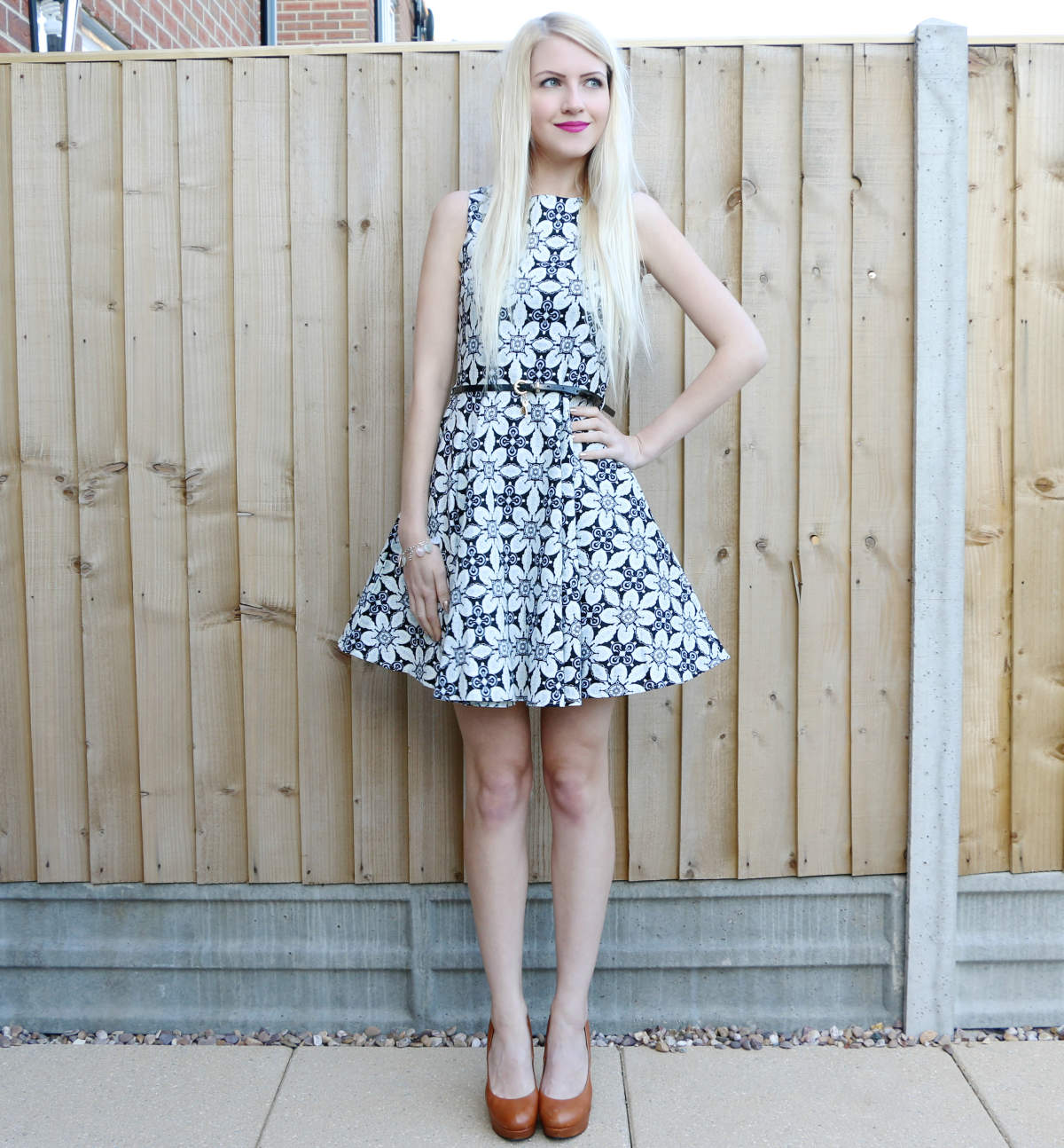 Geometric Print Skater Dress