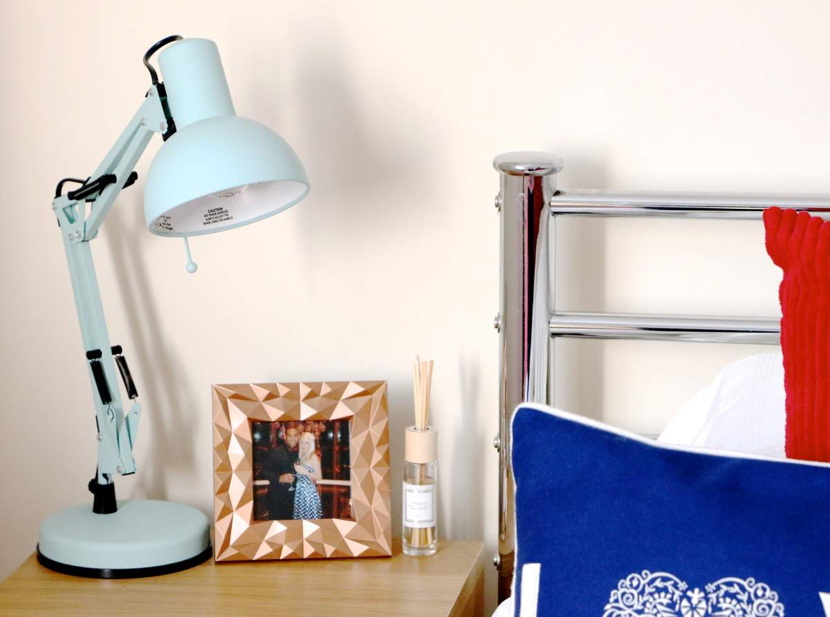 bedroom makeover duck egg blue lamp