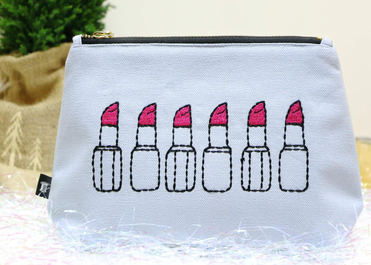 christmas gift lipstick embroidered makeup bag