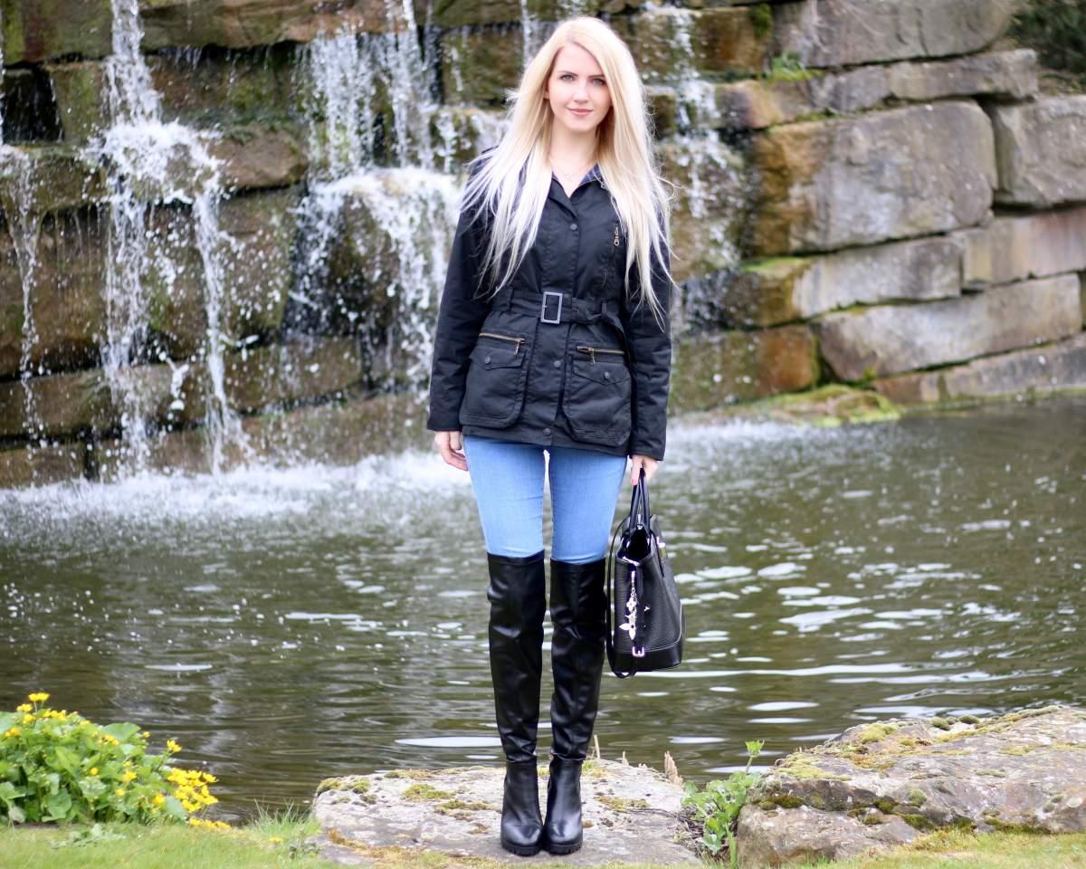 country attire black waxed jacket