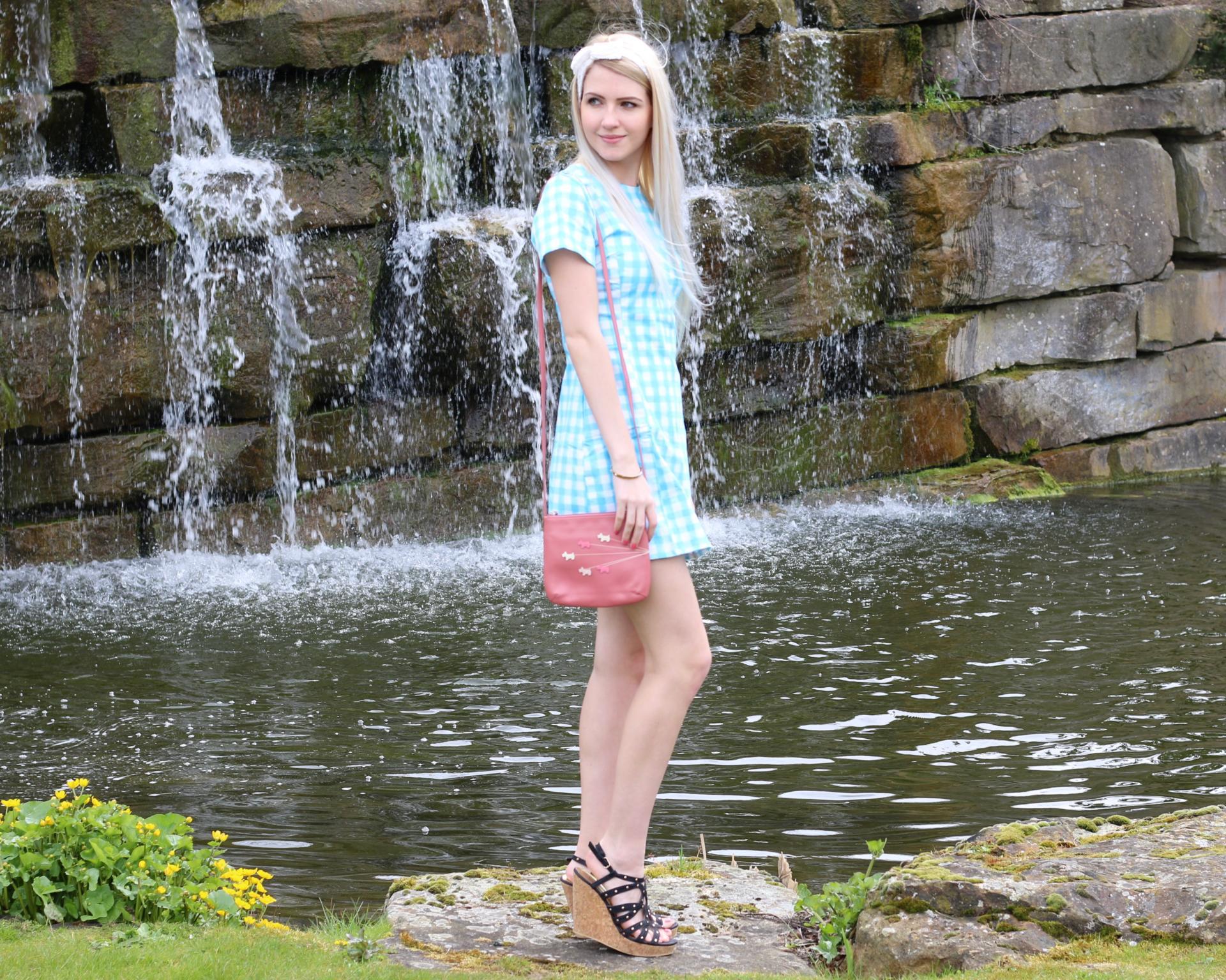 Blue Gingham Print Dress
