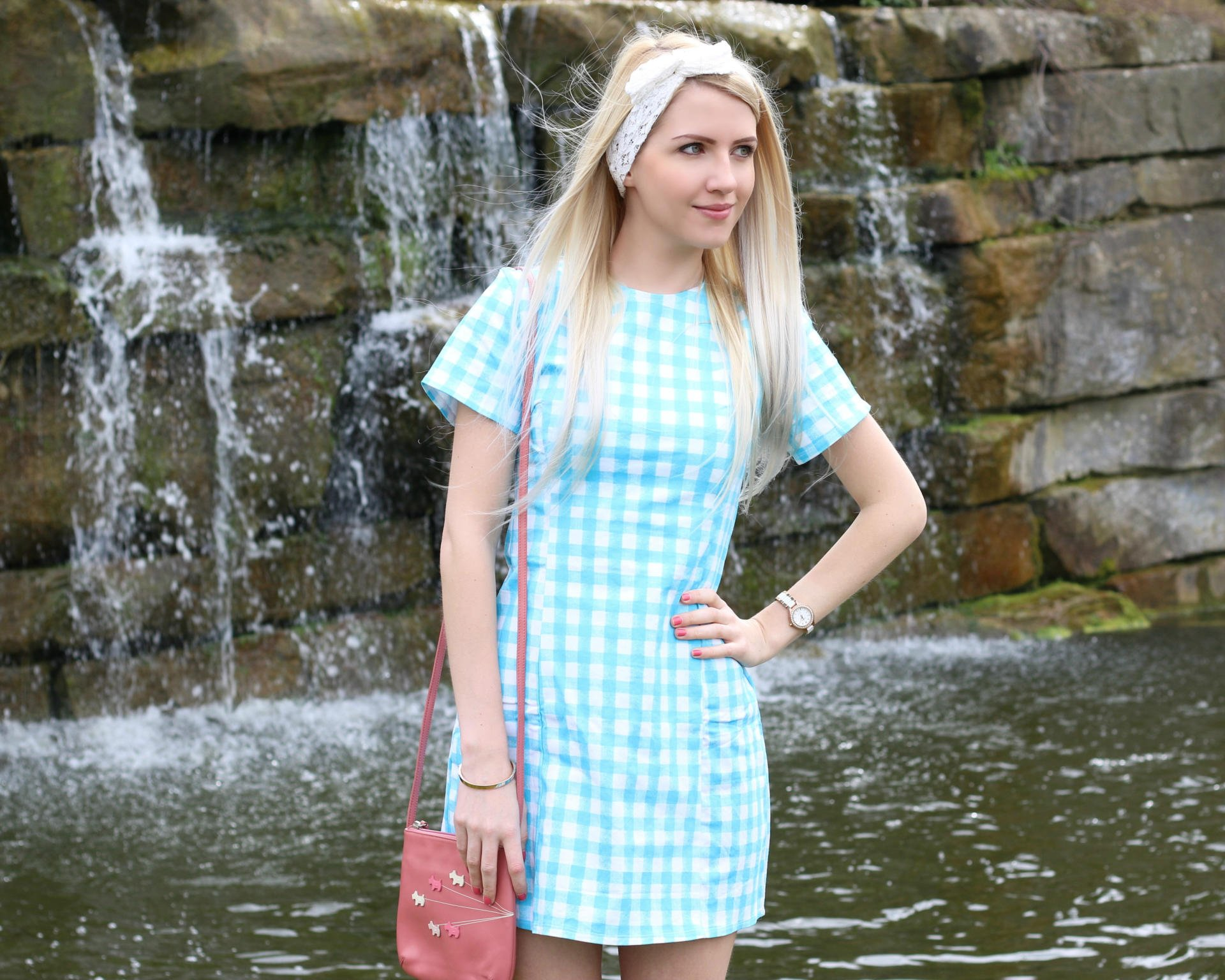 Blue Gingham Print Dress