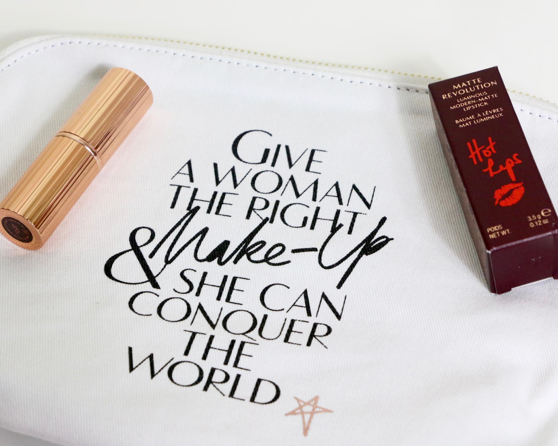charlotte tilbury lips canvas makeup bag