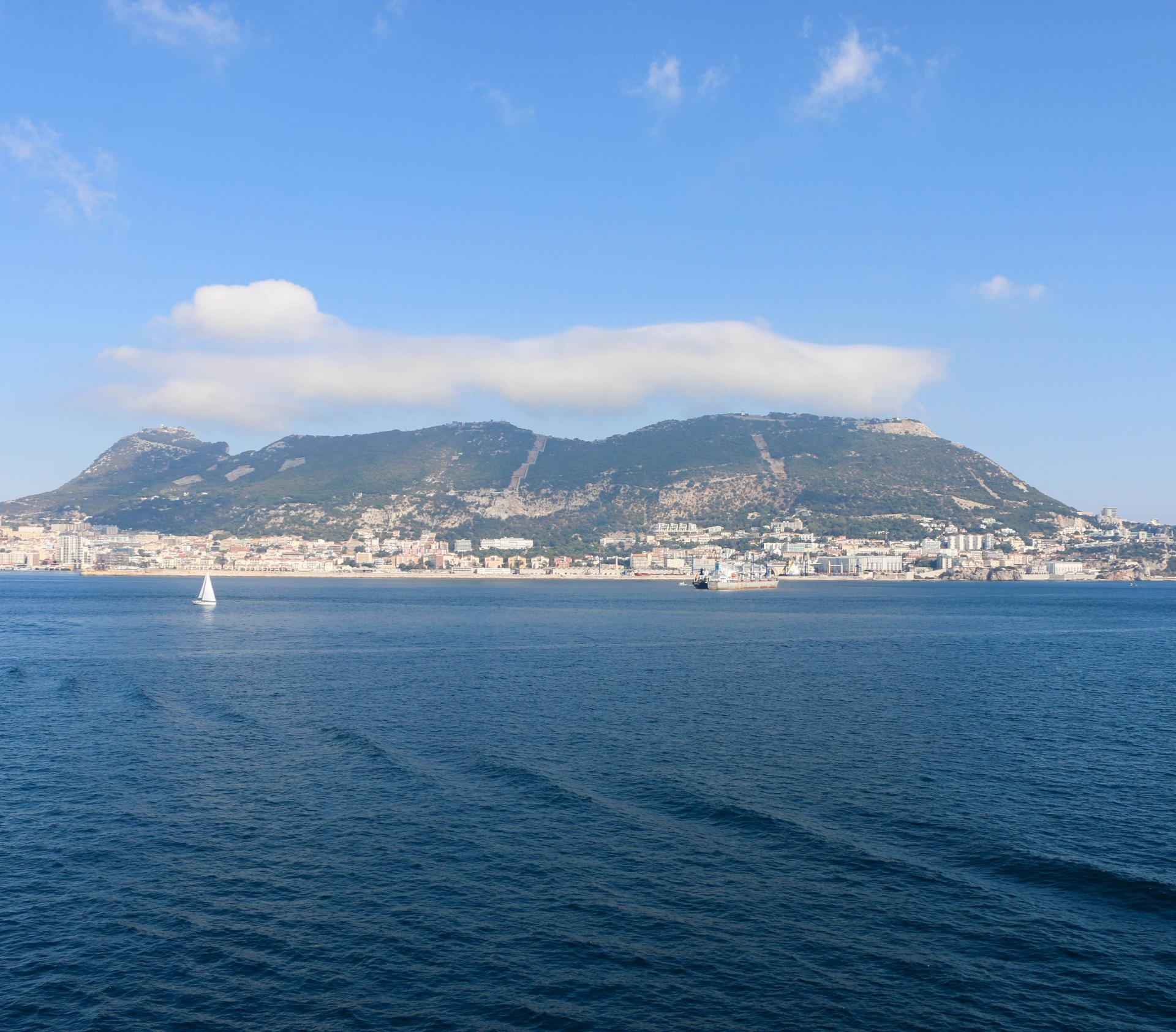 rock of gibraltar view from sea