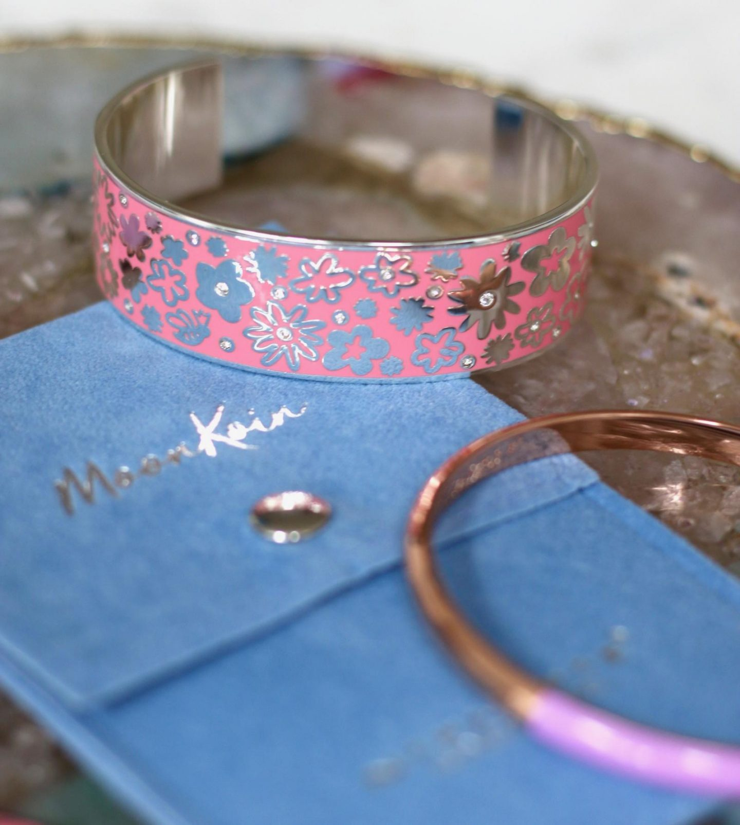 newbridge silverware moonkoin bangle in silver and pink enamel