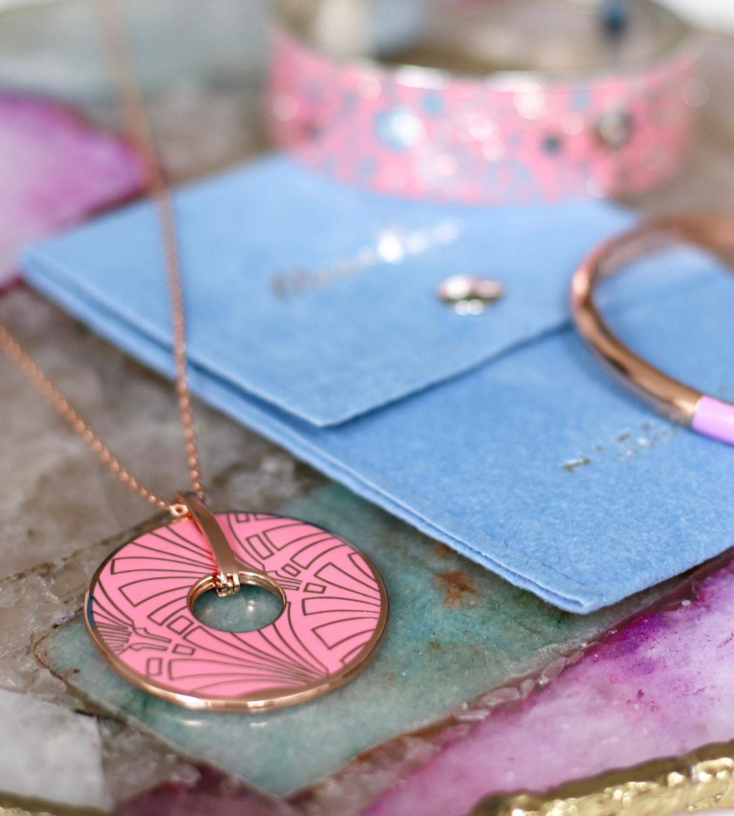 newbridge silverware moonkoin pendant in rose gold and pink