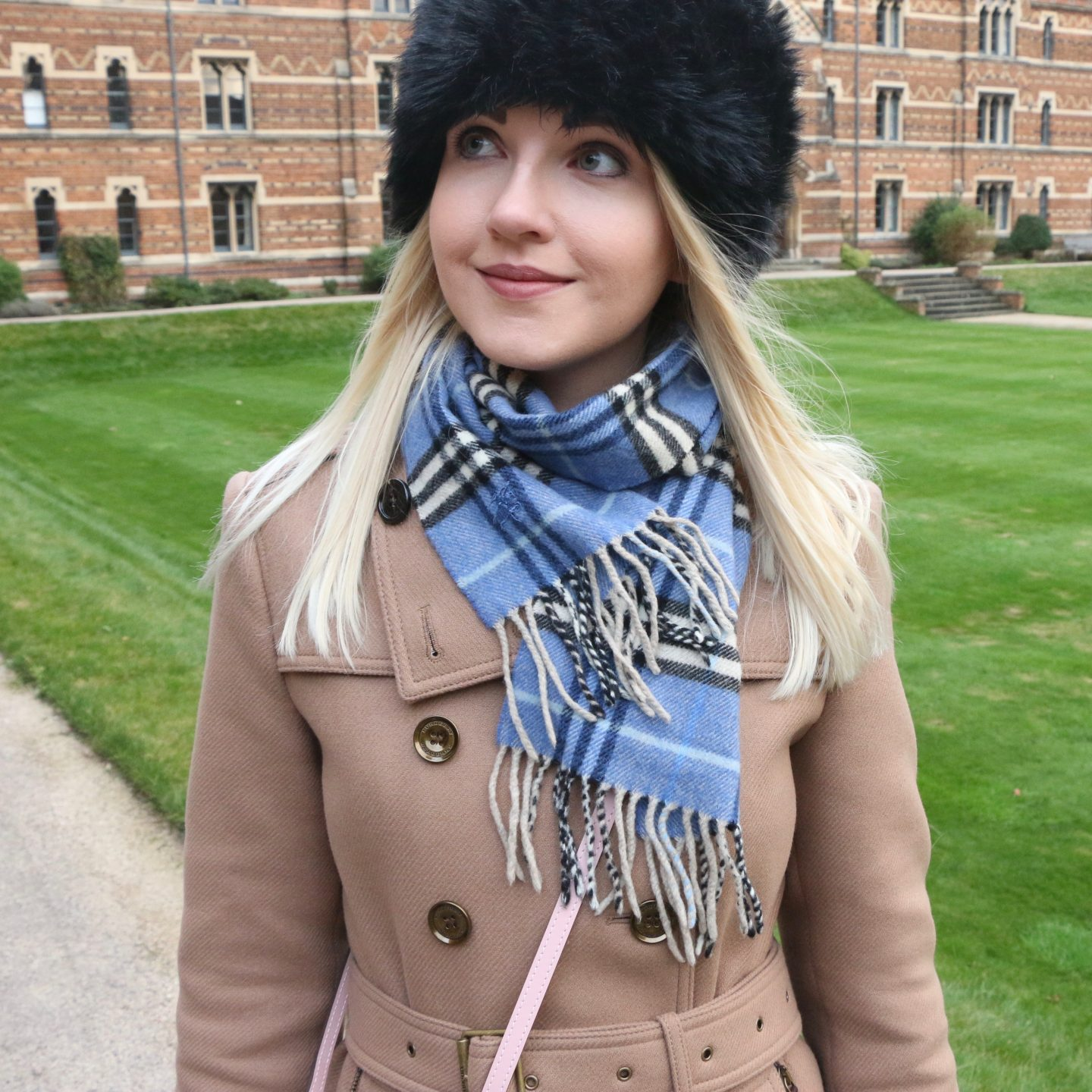 blue burberry check scarf from bicester village outlet