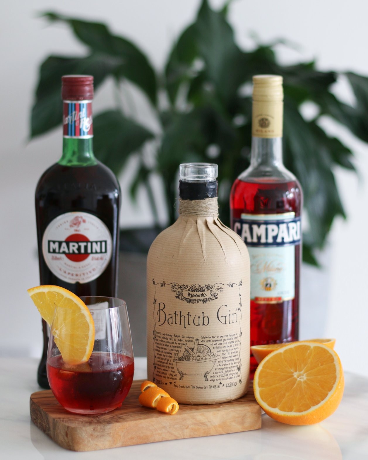 bathtub gin, martini and campari with negroni cocktail